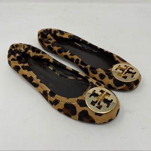 Tory Burch Shoes Reva Leopard Print Calf Hair Flat